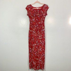 Vintage 90's Red Floral Cap Sleeve Long Maxi Dress
